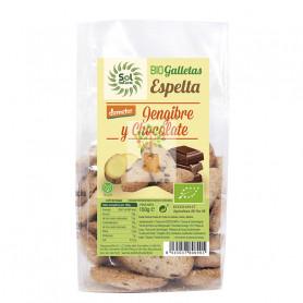 GALLETAS DE ESPELTA, JENGIBRE Y CHOCOLATE BIO 150Gr. SOL NATURAL